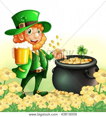 Illustration of an old man holding a mug of beer near a pot of coins