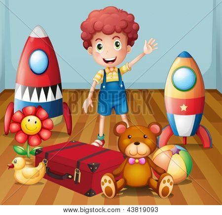 Abbildung eines jungen Mannes mit seinem Spielzeug im Zimmer