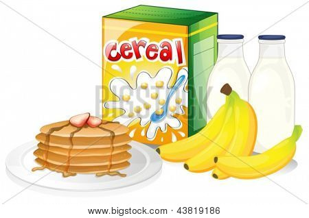 Illustration of a full breakfast meal on a white background