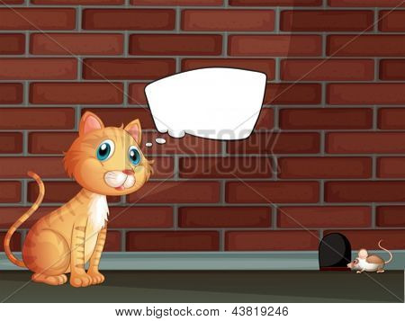 Illustration of an orange cat with an empty callout