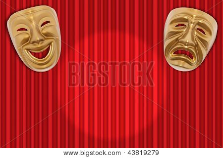 Comedy  and Tragedy theatrical mask on a red curtain