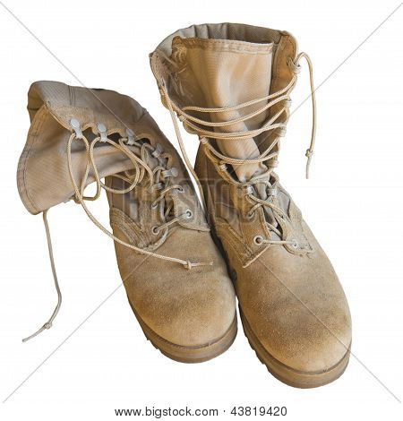 Army uniform shoes isolated
