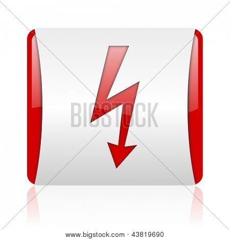 lightning red and white square web glossy icon