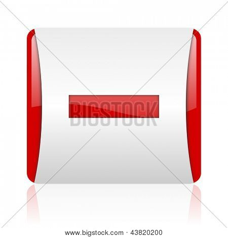 minus red and white square web glossy icon