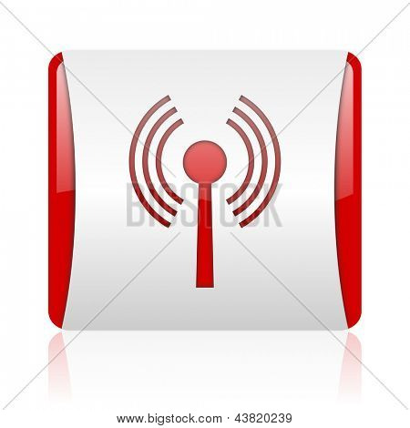 wifi red and white square web glossy icon