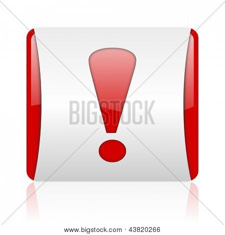 exclamation sign red and white square web glossy icon