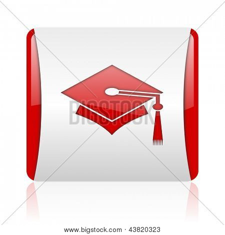 graduation red and white square web glossy icon