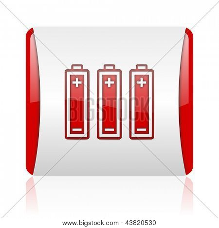 batteries red and white square web glossy icon