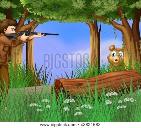 Illustration of a hunter and a scared bear