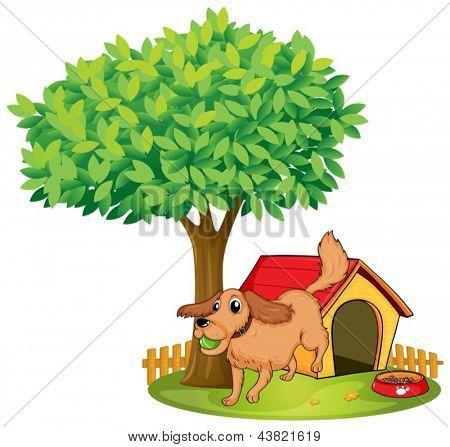 Ilustração de um cão jogando ao lado de uma casinha de cachorro debaixo de uma árvore sobre um fundo branco