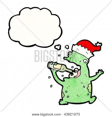 cartoon frog drinking beer