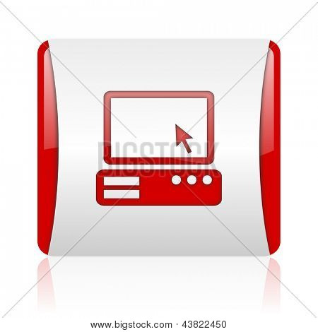 pc red and white square web glossy icon