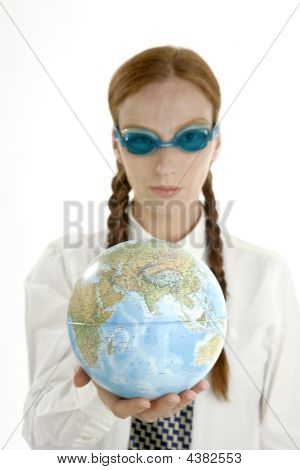Business Woman, Googles And World Map