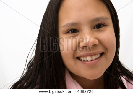Young Girl With Long Hair Close Up