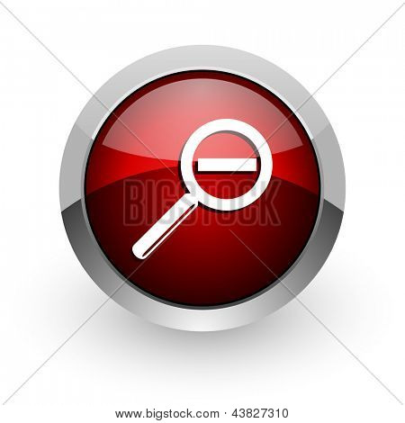 magnification red circle web glossy icon