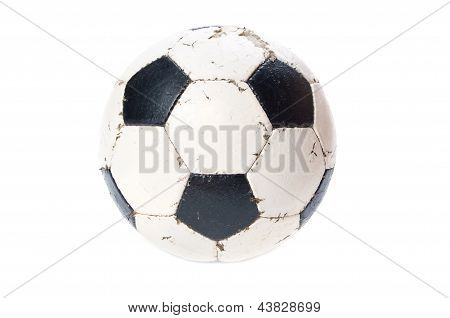 old leather soccer ball