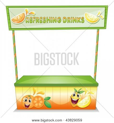 Illustration of a stall for refreshing drinks on a white background