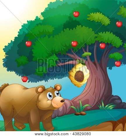 Illustration of a bear looking at the beehive hanging in an apple tree