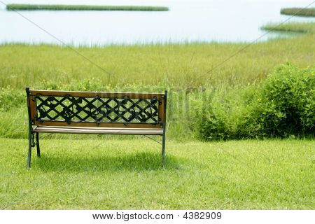 Bench Over The Green Grass On  Lake