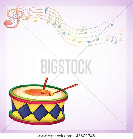 Beispiel für eine leere Briefpapier mit einer Trommel und musikalische Symbole