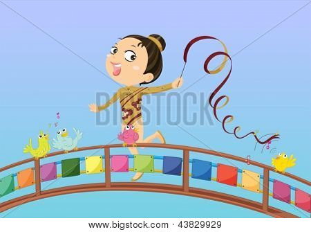 Illustration of a girl holding a stick with ribbon
