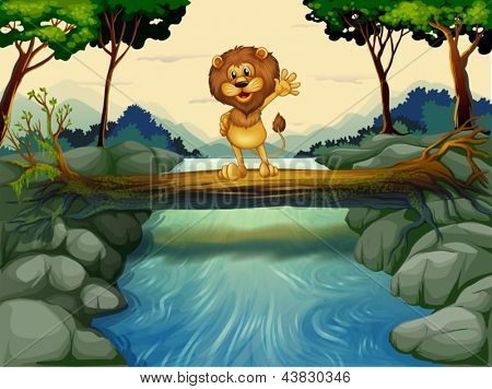 Illustration of a lion standing at the trunk above the flowing river