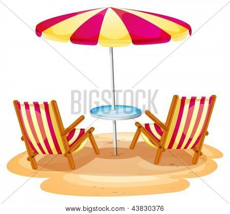 Illustration of a stripe beach umbrella and the two wooden chairs on a white background