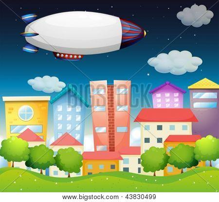 Abbildung eines Flugzeugs in der Stadt