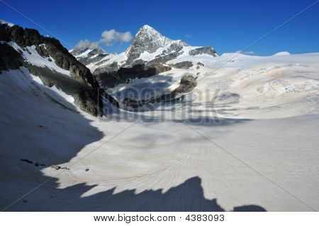 Dent Blanche And Mont Mines Glacier