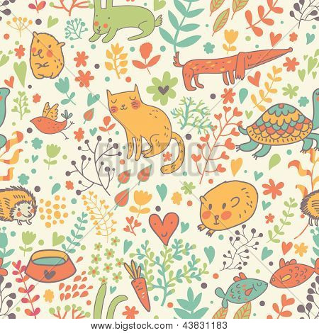 Funny animals in flowers. Cartoon seamless pattern for childish designs. Hamster, cat, dog, turtle. Seamless pattern can be used for wallpaper, pattern fills, web page background, surface textures.