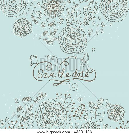 Save the date. Stylish floral wedding invitation in vector. Romantic floral wedding card