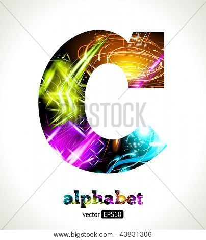 Vector Customizable Light Effect Alphabet. Design Abstract Letter C.