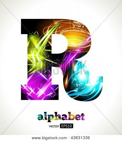 Vector Customizable Light Effect Alphabet. Design Abstract Letter R.
