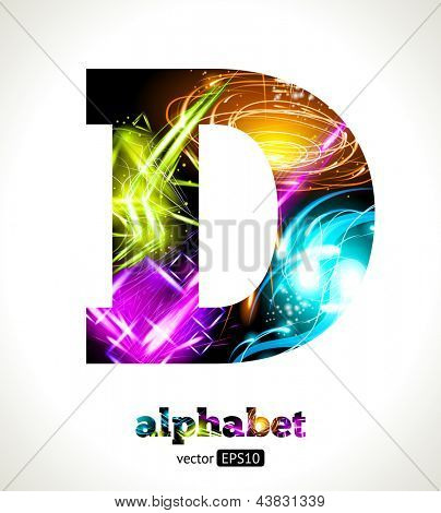 Vector Customizable Light Effect Alphabet. Design Abstract Letter D.