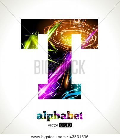 Vector Customizable Light Effect Alphabet. Design Abstract Letter T.