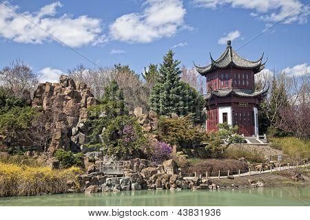 Chinese Garden in the Montreal Botanical Garden, Montreal, Quebec, Canada.