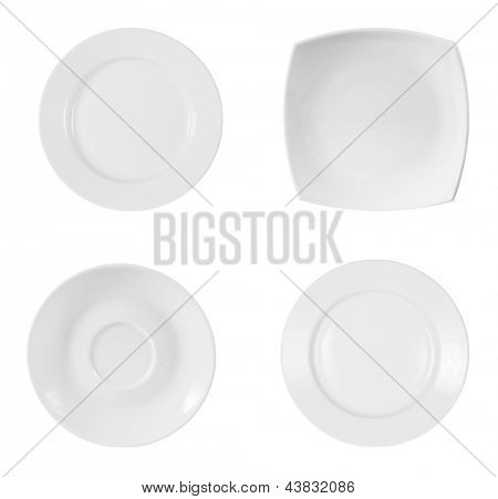 different plates isolated on white background with clipping path included