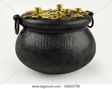 A photo of a pot of gold on a white background.