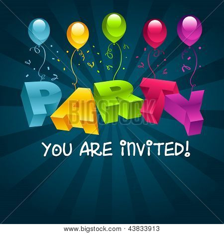 Colorful Party Invitation Card