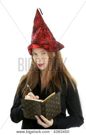 Beautiful Witch Secretary Portrait Writing Notebook