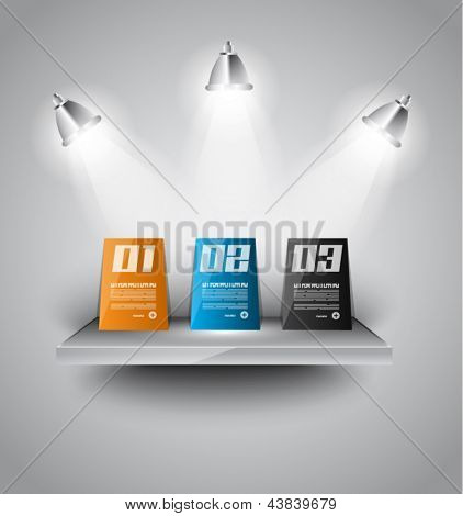 infographics paper panels over a modern shelf with led spotlights. Delicate lights and shadows.