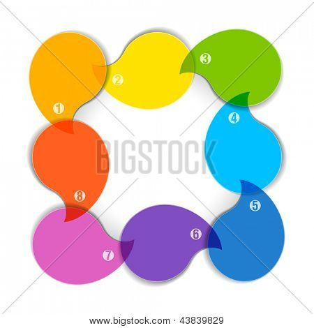 Colorful diagram with eight blank boxes. Vector.