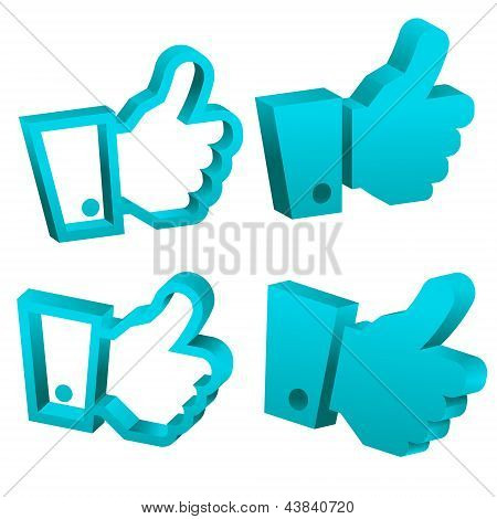 3D Blue Like It Hand Icons
