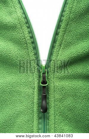 Zipper opening fleece jacket over white background