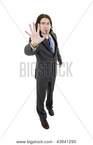 young businessman going stop with the hand, in a white background