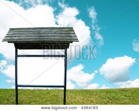 Blank Advertising Board On Nature Background