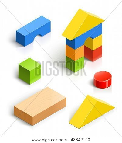 brick house. wooden toy vector illustration isolated on white background EPS10. Transparent objects and opacity masks used for shadows and lights drawing. Vector Illustration.
