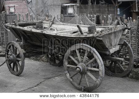 Old carriage closeup. Rural scene.