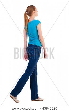 back view of walking  woman beautiful blonde girl in motion. relaxed gait pretty woman goes somewhere.  backside view of person.  Rear view people collection. Isolated over white background.