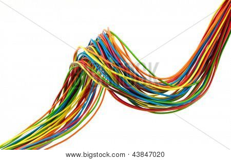 Bunch of different colors wires. Isolated  on white.